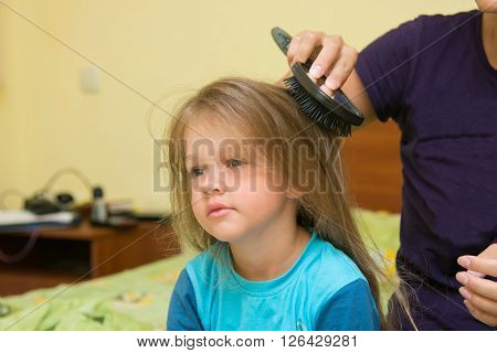 Little Girl Combing Her Long Hair Massage Comb