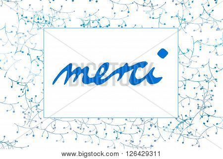 Thank You In French Language - Merci- Letters - Little Flowers