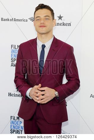 Rami Malek at the 2016 Film Independent Spirit Awards held at the Santa Monica Beach in Santa Monica, USA on February 27, 2016.