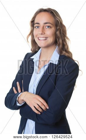 Dynamic blond businesswoman with blue eyes and blazer on an isolated white background for cut out