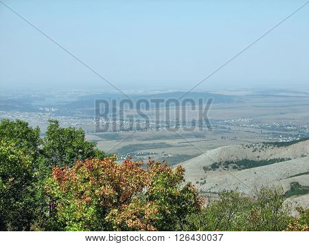 Crimean mountains near the marble caves and deciduous forests and mountain Chater-Dag