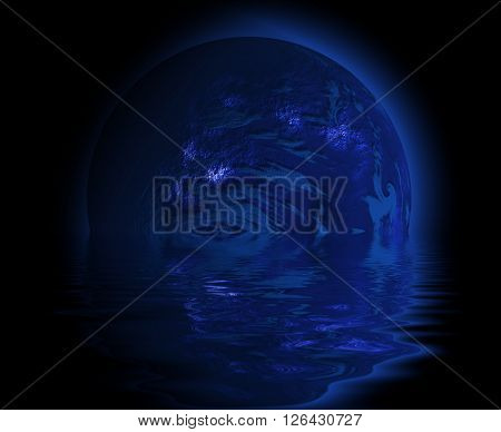 blue Fantasy planet with reflection and sphere !