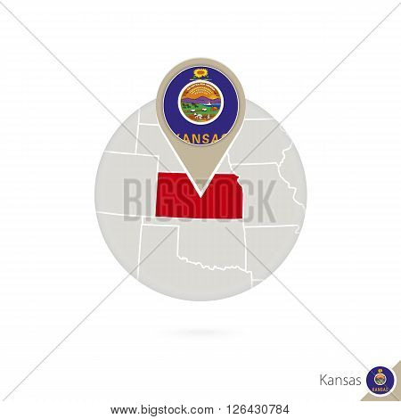 Kansas Us State Map And Flag In Circle. Map Of Kansas, Kansas Flag Pin. Map Of Kansas In The Style O