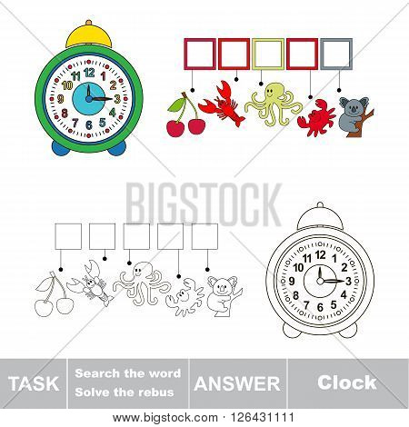 Vector rebus game for children. Find solution and write the hidden word Clock