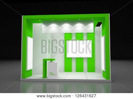 Blank Modern Booth Exhibition Design Concept, 3D illustration, 3D Rendering