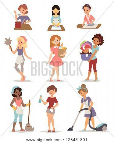 Set of housewife icon homemaker cleaning ironing cook wash and shopping vector illustration.