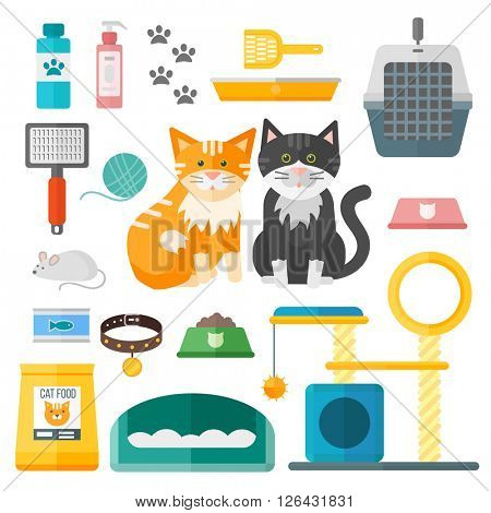 Pet supplies cat accessories animal equipment care grooming tools vector set.