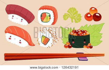 Japanese Food Illustration Sushi cartoon comic cute kawaii Characters Vector set