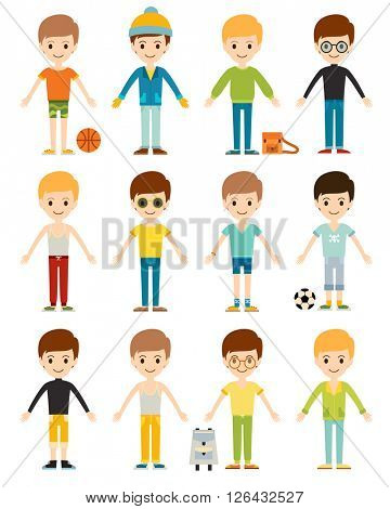 Set cute happy cartoon boys characters childhood young active lifestyle vector illustration