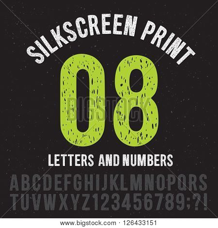 Silkscreen print style letters and numbers. Vintage grunge alphabet vector pack