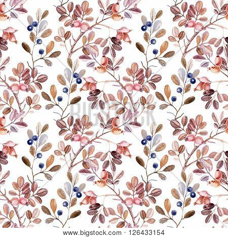 Watercolor seamless pattern with Dog Rose and blackthorn branches. Autumn background