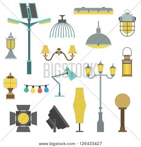 Lamps styles design electricity classic light furniture, different types electric equipment vector illustration.