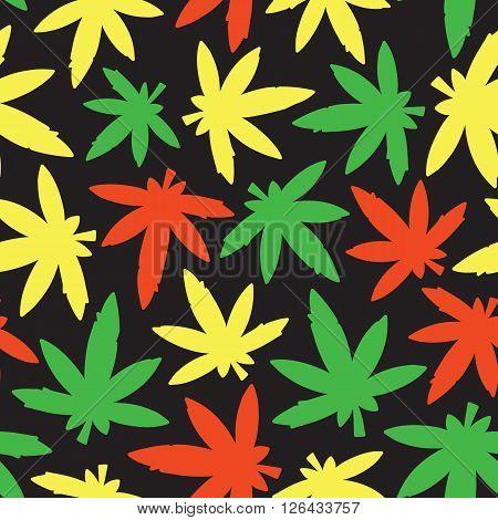 Marihuana ganja weed seamless vector pattern rasta
