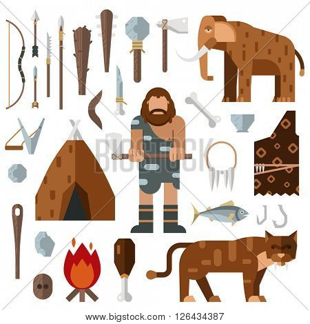 Life stone age caveman cave bonfire mammoth bone vector.