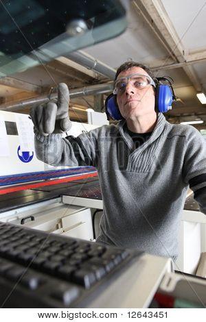 Laborer in workshop