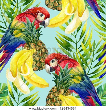 Tropical background. Seamless pattern with parrot and fruits. Hand painted illustration