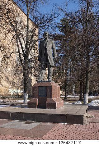 RAMENSKOYE, RUSSIA - MARCH 23, 2016: Monument to the first director of Ramenskoye manufactory Dmitriev Fedor Mikhailovich (1829-1882) established in 2004 sculptor O.V. Ershov