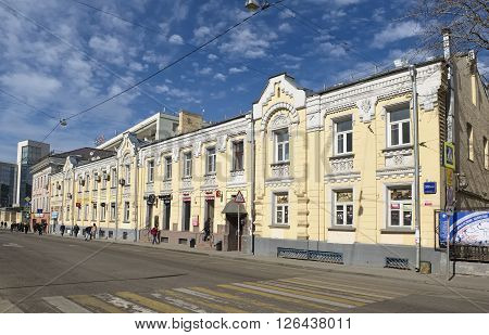 MOSCOW, RUSSIA - MARCH 28, 2016: Former Profitable House A.I. Vinogradova built in 1888 - 1889 years st. Myasnitskaya 30/1/2 Building 2 currently located in a building the business center with a large list of companies