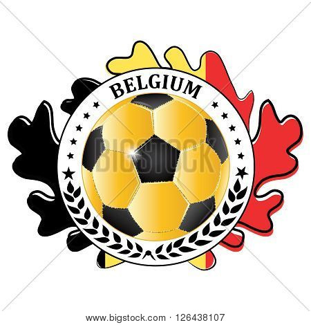Belgium 2016 football team sign, containing a soccer ball and the Belgium flag. Print colors used