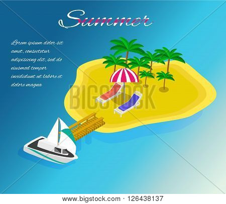 Trip to Summer holidays. Travel to Summer holidays. Vacation. Tourism. Travel banner. Journey. Travelling 3d isometric illustration. Modern flat design banner