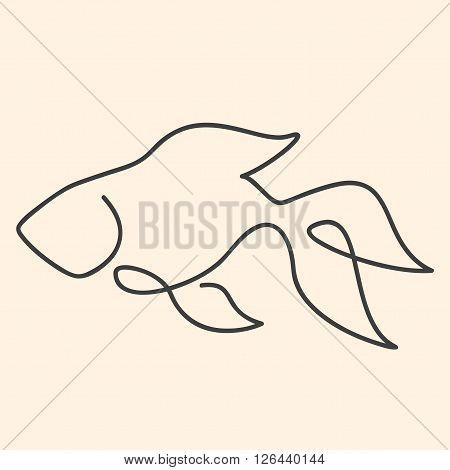 One line goldfish vector illustration on beige background