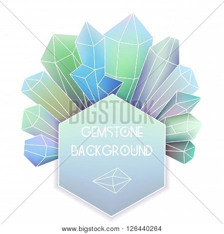 Hexagon frame with crystal composition on white background