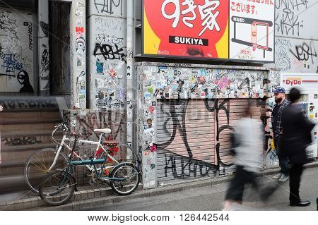 Tokyo, Japan - March 30, 2016 :Bumper stickers and graffiti on the street,Harajuku,Tokyo Japan.Harajuku is known as a center of Japanese youth culture and fashion.