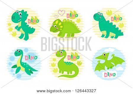 Dinosaur set vector illustration. Dinosaur design. Childish vector design.