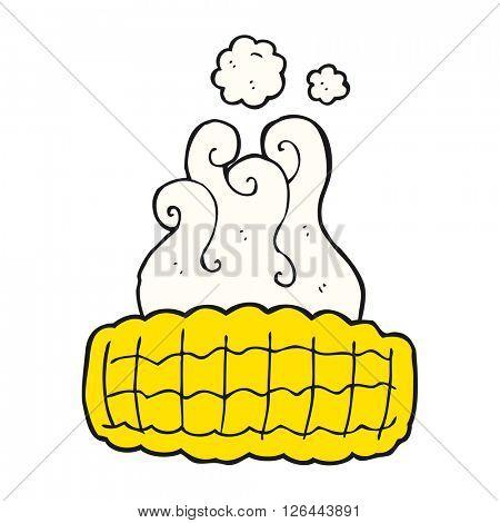 freehand drawn cartoon corn cob