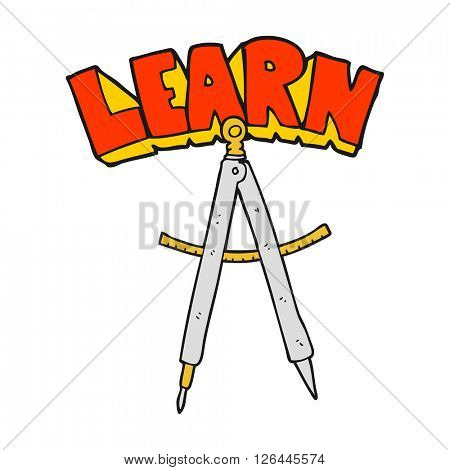 freehand drawn cartoon maths compass