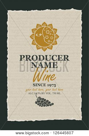 wine label with a picture of the sun and moon against the background of the papyrus