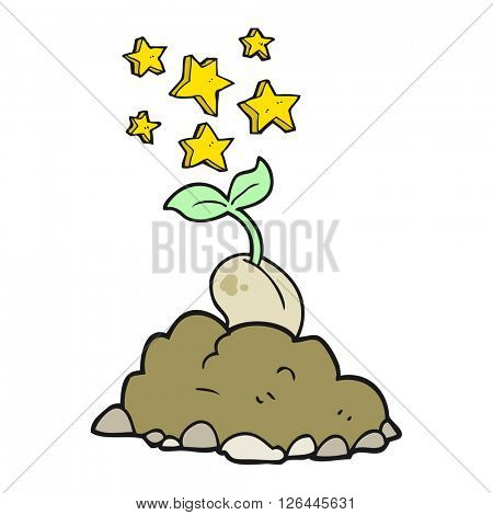 freehand drawn cartoon sprouting seed