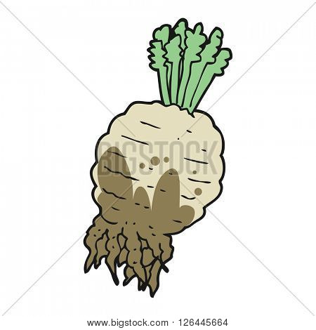 freehand drawn cartoon muddy turnip