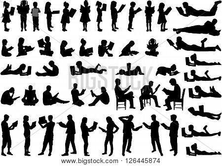 Silhouettes of people with a book. Vector illustration