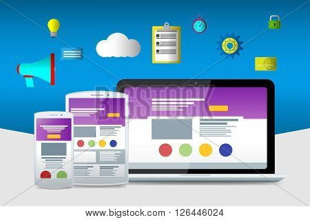 Flat Seo Icons. Web Sites And Applications. Flat Laptop, Phone And Tablet. Material Design Icons