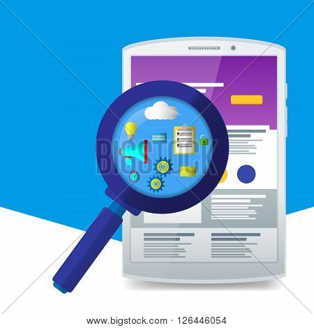 Flat Magnifier With Seo Icons. Web Sites And Applications. White Tablet. Material Design Icons