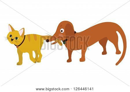 Animated picture on white background best friends - cat and dog, vector illustration