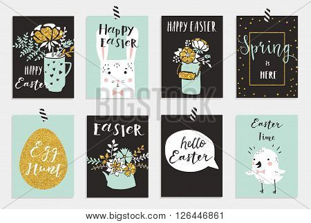 Easter greeting cards collection. Cute Easter bunny and chick, watering can with flowers and gold texture. Set of bright holiday invitations.