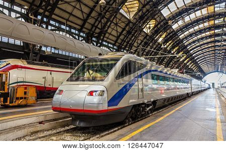 Milan, Italy - May 8, 2014: Pendolino high-speed tilting train at Milano Centrale railway station. This train is owned by SBB CFF FFS - Swiss Federal Railways