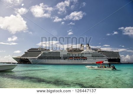 Grand Turk Grand Turk and Caicos Island - December 29 2015: Two Cruise Ships - Regent seven seas Navigator and Eurodam Docked in Grand Turk Islands