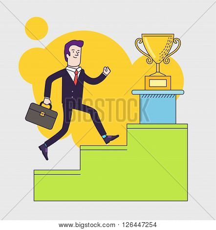 Businessman with suitcase climbing the stairs of success to get the winner of the cup. Flat style vector illustration