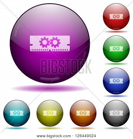 Set of color Memory optimization glass sphere buttons with shadows.