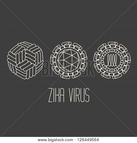 Zika virus structure scheme on grey background