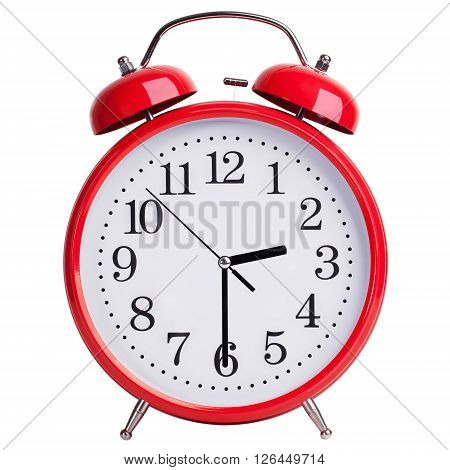 Red round alarm clock shows half past two