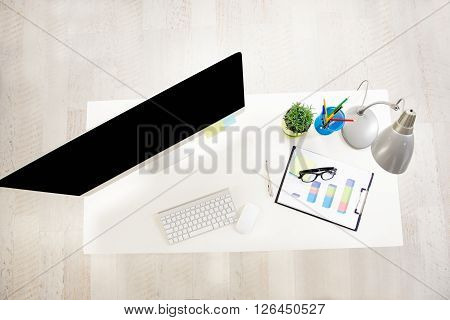 Top view photo of work place in office with computer