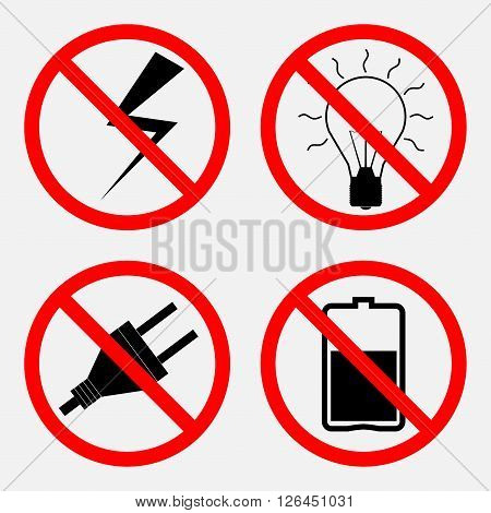 set of signs prohibiting Electric operation, the battery is prohibited, prohibited lampochka, fully editable vector image