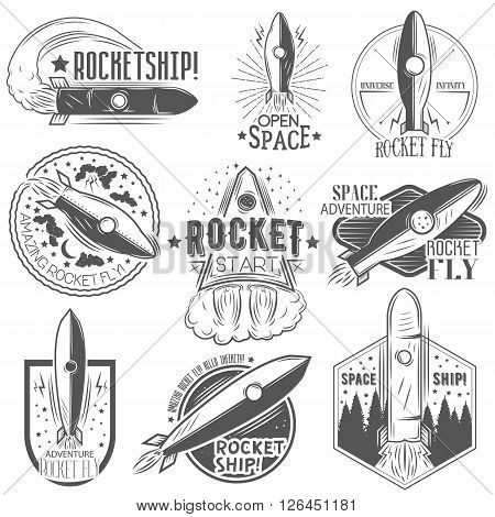 Vector set of rocket launch labels in vintage style. Design elements, icons, logo, emblems and badges isolated on white background. Space exploration concept.