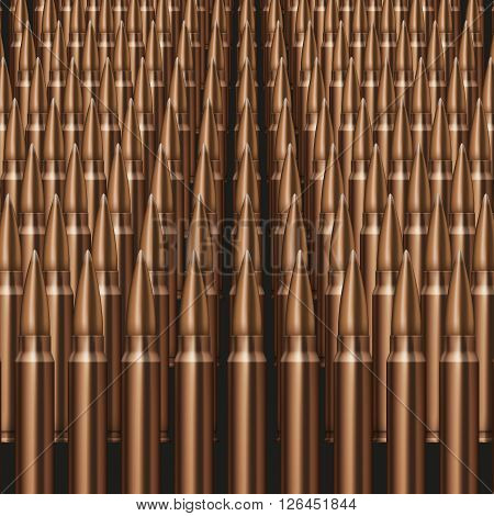 Rifle Bullets background Neat rows of cartridges
