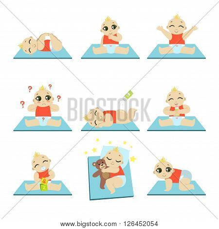 Cute Baby Isolated Flat Vector Cartoon Style Adorable Illustrations Set On White Background