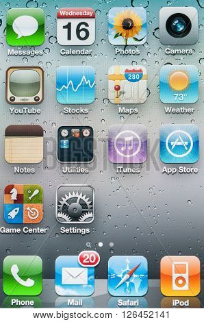 Singapore 16 Mar 2011: Shot of colorful application icons on main display on iPhone.